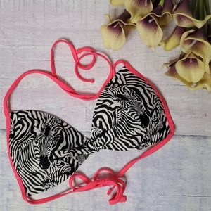 Hot Water Zebra Print Bikini Top